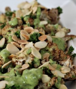Roasted Cauliflower & Green Tahini Dressing (paleo. vegan. gf. df)