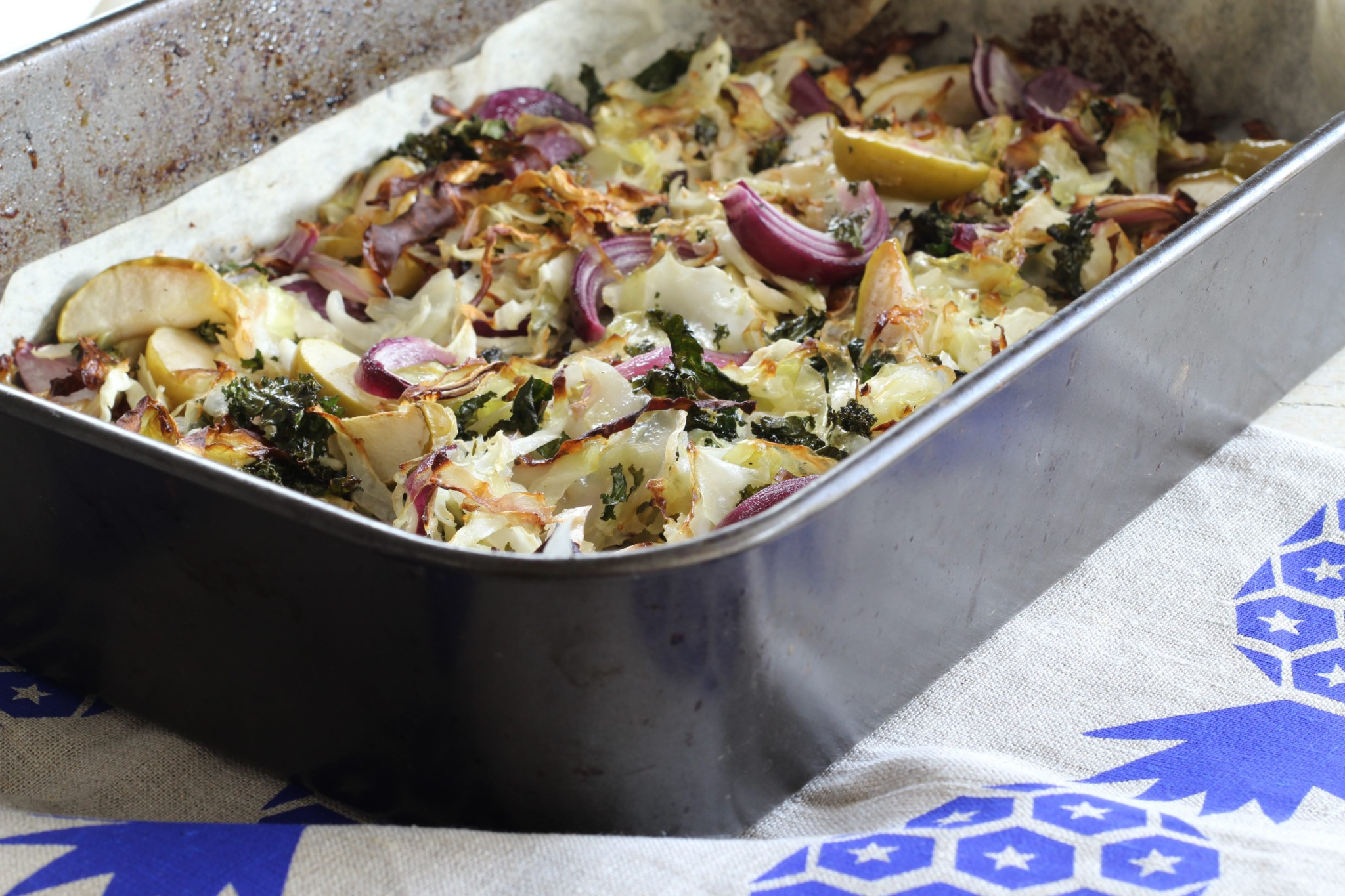 Roasted Cabbage & Kale Warm Salad (paleo. gf. df. vegan)